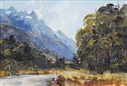 Sale 8420 - Lot 590 - Aston Greathead (1912 - 2012) - Country Road with distant view of Mountains 26.5 x 39.5cm