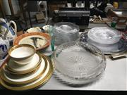 Sale 8759 - Lot 2419 - Collection of Sundries incl. Glass Plates, Bowl, Metal Trays, Mikasa Dinner Wares, Royal Worcester Cup, Saucer Plate set, etc