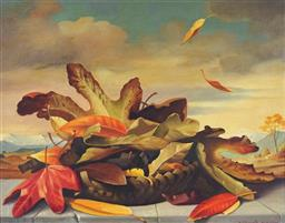 Sale 9180A - Lot 5088 - BRUNO CENGARLE (1921 - 2002) Autumn Leaves, 1982 oil on board 36.5 x 46.5 cm (frame: 55 x 65 x 4 cm) signed and dated lower right