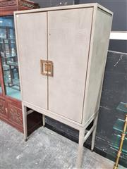 Sale 8904 - Lot 1009 - Modern Raised Timber Veneered Cabinet with Two Doors (H: 182 W: 96 D: 45cm)