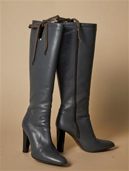 Sale 9093F - Lot 36 - A pair of Diane Von Furstenberg grey leather high top boots size 7M