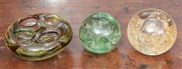 Sale 9120H - Lot 14 - Three pieces of art glass including dumps/paperweights, largest Diameter 14cm
