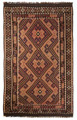 Sale 9123J - Lot 306 - A vintage Kilim rug, the three diamond pattern within the central panel surrounded by repeating geometric bordersover a sienna colou...