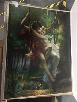 Sale 9130 - Lot 2068 - Brichand Lovers in a Sunlit Glade, oil on canvas (unstretched), 105 x 79 cm, signed lower left -