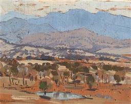 Sale 9161 - Lot 502 - MAX RAGLESS (1901 - 1981) Landscape near Canberra, ACT oil on board 16.5 x 21.5 cm (frame: 37 x 42 x 3cm) signed lower left, inscrib...