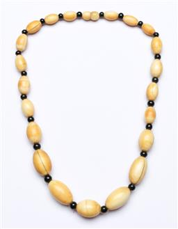 Sale 9156 - Lot 210 - A vintage Indian Ivory beaded necklace, with black bead partitions,