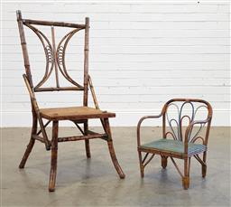 Sale 9174 - Lot 1079 - Tiger cane chair with smaller cane kids chair (h94 x w34cm)