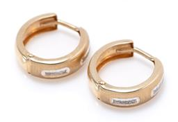 Sale 9213 - Lot 307 - A PAIR OF 9CT TWO TONE GOLD HOOP EARRINGS; 4.4mm wide hinged hoops with textured white gold rectangular highlights on lever fittings...