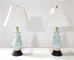 Sale 9215 - Lot 1012 - Pair of Chinese Celadon Phoenix Table Lamps, the partially glazed baluster bodies, with protruding phoenix heads & tail feathers & t...