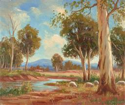 Sale 9216A - Lot 5068 - N WOODLEY Grazing Sheep & Landscape oil on board 37 x 44.5 cm (frame: 47 x 54 x 3 cm) signed lower right
