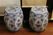 Sale 8079 - Lot 101 - Pair of Chinese Blue and White Seats