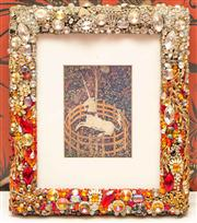 Sale 8222 - Lot 35 - A print of a unicorn, in a bejewelled frame, 33 x 28cm