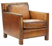 Sale 8261A - Lot 7 - The Club Armchair, in soft brown top grain waxed leather with brass stud detail, W 73 D 90 H 80cm