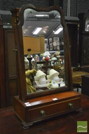 Sale 8359 - Lot 1037 - Georgian Style Mahogany Toilet Mirror, fitted with a drawer & on bracket feet