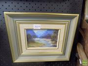 Sale 8483 - Lot 2059 - Framed Oil on Canvas Lake Scene, Signed Lower Left (10 x 15)