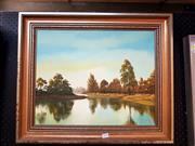 Sale 8678 - Lot 2034 - Leonard Schultz - Afternoon Lights Reflections, 1978, acrylic on canvas board, 52 x 62cm (frame size), signed lower right