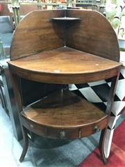 Sale 8774 - Lot 1048 - George III Mahogany Gentlemans Corner Washstand, with high back and small attached shelf, the lower shelf with a drawer fitted