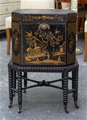 Sale 8746 - Lot 1085 - Possibly Georgian Black Lacquer Cellarette, of octagonal form with gilt chinoiserie decoration, enclosing a lead lined interior, on...