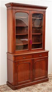 Sale 8912H - Lot 26 - Excellent quality Antique English mahogany two height bookcase of good proportions C: 1865. The stepped cornice above a pair of door...