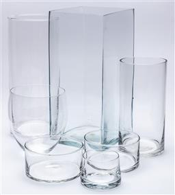 Sale 9099 - Lot 239 - A collection of cylindrical glass vases, Tallest 21cm