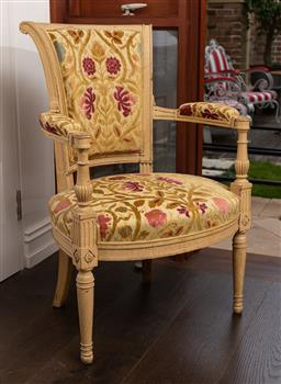 Sale 9160H - Lot 239 - A French antique corner chair upholstered with Boyac fabric, Height of back 87cm, Width 62cm x Depth 49cm
