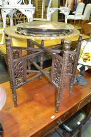 Sale 8093 - Lot 1304 - Middle Eastern Occasional Table with Brass Top, also 2 Other Brass Tops