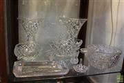 Sale 8217 - Lot 119 - Cut Crystal Vases with Other Crystal incl Basket