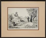Sale 8274 - Lot 596 - Lionel Lindsay (1874 - 1961) - Untitled (Spanish Monastery Monks) 21 x 30cm