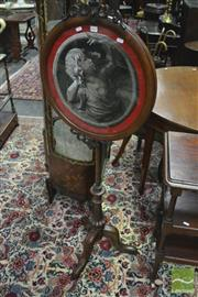 Sale 8359 - Lot 1062 - Good Victorian Walnut Tapestry Pole Screen, with a glass bead portrait of a grape eating youth, with pierced carvings & turned pedestal