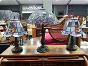 Sale 8657 - Lot 1050 - Pair of Leadlight Lamps and Another