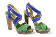 Sale 8703 - Lot 364 - A PAIR OF BCBGMAXAZARIA PLATFORM HEEL SANDLES; green and purple suede straps to gold and green leather instep and striped black and...