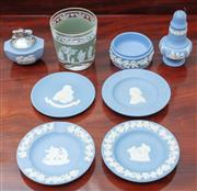 Sale 9058H - Lot 10 - A group of Wedgwood jasperware including four pin dishes, a cigarette lighter, a pepperette together with an associated glass with e...