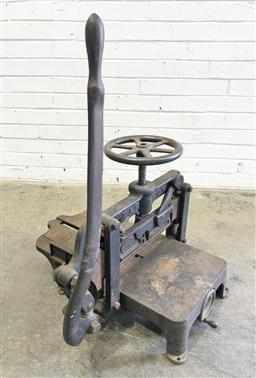 Sale 9126 - Lot 1113 - Victorian Industrial Patent Cast Iron Guillotine, by E.J. Miller, Retailed by Edward Dunlop & Co, Agents, Sydney (h:90cm)