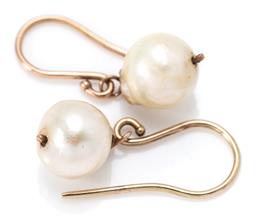 Sale 9164J - Lot 474 - A PAIR OF PEARL EARRINGS; 8-9mm slightly baroque cultured pearls on 10ct gold shepherds hooks, wt. 2.58g.