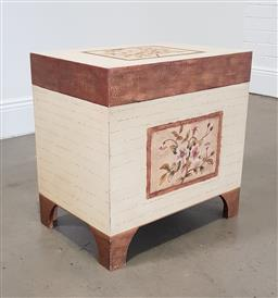 Sale 9215 - Lot 1486 - Decorated timber lifttop trunk (h56 x w56 x d39cm)
