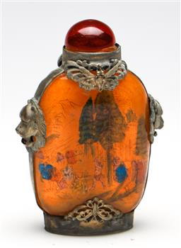 Sale 9253 - Lot 362 - An inside painted Chinese glass snuff bottle (H:9cm)