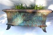 Sale 8256A - Lot 15 - An antique French cast iron garden jardinière planted with agapanthus. Overall size: 60 x 28 x 32 cm