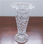 Sale 8308A - Lot 72 - An Art Deco hand cut lead crystal vase with a flared rim. Ht: 26cm