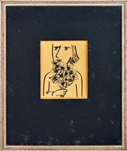 Sale 8339A - Lot 588 - Charles Blackman (1928 - ) - Untitled (Woman Holding Flowers) 12 x 9.5cm