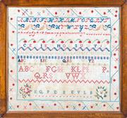 Sale 8599A - Lot 57 - A Victorian needlework sampler, 55 x 59cm (inc. framing).