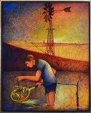 Sale 8394 - Lot 543 - Bob Marchant (1938 - ) - Wimmera Boy (Catching Yabbies) 100 x 80cm