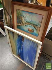 Sale 8449 - Lot 2064 - Group of 3 original artworks by Unknown Artists: Terrace Houses; Beachscape; Paris Scene, acrylic on canvas/board, various sizes, (...
