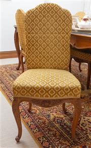 Sale 8414A - Lot 21 - A set of eight high back gold cut moquette upholstered chairs in the French taste on cabriole legs
