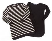 Sale 8640F - Lot 79 - An oversized striped Marccain Sports longsleeved top, size N 3 together with a Polo Ralph Lauren black merino wool blend knitted lon...