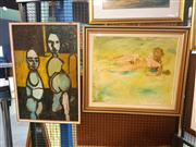 Sale 8659 - Lot 2127 - 2 Original Artworks by Unknown Artists - Two Figures and Nude, framed and various sizes, unsigned