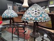 Sale 8676 - Lot 1031 - Pair of Leadlight Shade Table Lamps
