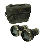 Sale 8888H - Lot 97 - Antique French silver plate and leather trim binoculars in original case, 8 x 12 cm