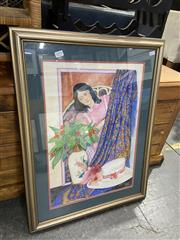 Sale 8990 - Lot 2079 - Gail Boyd The Silk Shawl and White Hat mixed media on paper  70 x 53cm (frame), signed