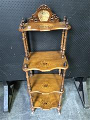 Sale 9048 - Lot 1002 - Victorian Inlaid Walnut Whatnot, of four tiers, with pierced mirror back & on turned spiral supports (H:150 x W: 47 x D: 32 cm)