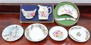 Sale 9058H - Lot 26 - A boxed Royal Crown Derby cream jug and sugar bowl together with a butter dish and knife and four sundry pin dishes including Royal...